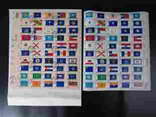 One Sheet of 1976 USA 50 States Flags Stamp 13c and
