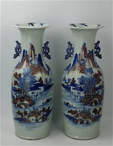 A Pair of Blue and White Porcelain Vase Red Underglaze