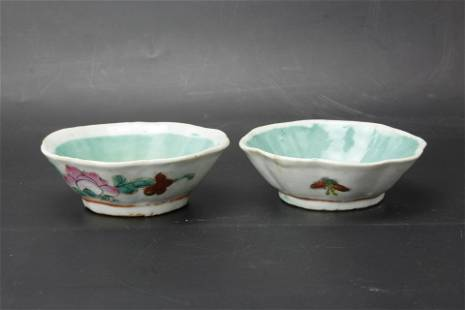 Two Turquoise Green Famille Rose Octagonal Porcelain