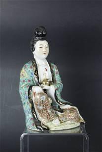 A Chinese Guanyin Porcelain Figurine Signed ZhuYonJi