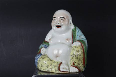 A Chinese Laughing Buddha Porcelain Sculpture Signed