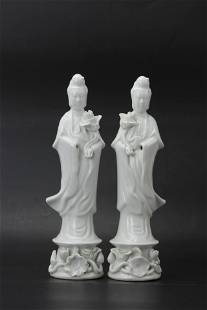 A Pair of White Porcelain Guanyin Statues