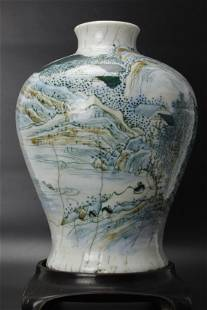 A Chinese Porcelain Meiping Vase with Wood Base