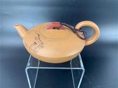 A Chinese Yixing Zisha Teapot with Bridge Top Zhang