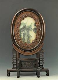 A Table Screen Rosewood Framed Natural Stone Landscape