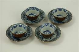 Set of 4 Scalloped Edge Brown Glazed Blue and White