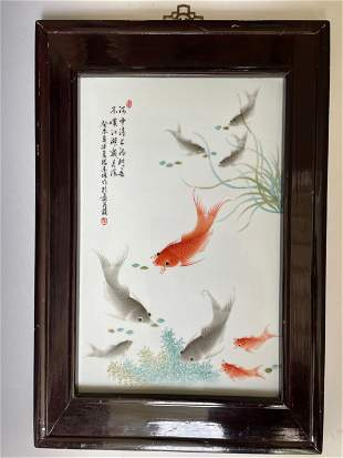 A Chinese Wall Hanging Porcelain Plaque with Koi Fish