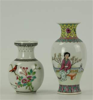 Two Chinese Famille Rose Porcelain Vase Bird and Figure