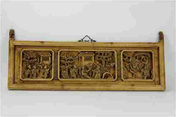 A Chinese Relief Carved Wood Panel with Figural and