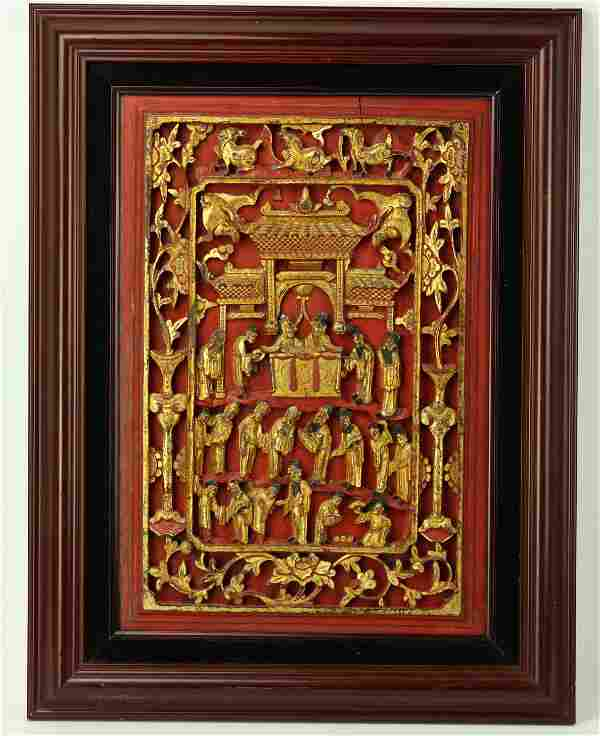 A Chinese Carved Wood Panel with Dynasty Scene Painted