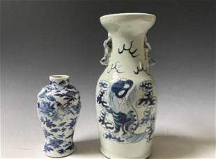 Two Chinese Blue and White Porcelain Vase