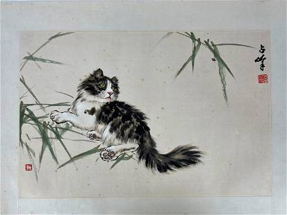 A Chinese Painting Cat and Bug by Zhan Feng