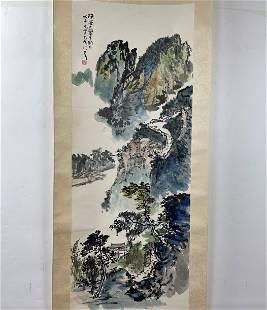 Ren Zhenhan(1907-) Chinese Painting Guilin Landscape