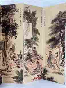 Eight Panel Chinese Painting Screen Attributed To Fu