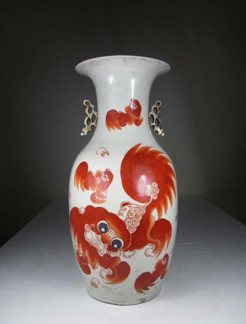 A Chinese FoDog Porcelain with Holder