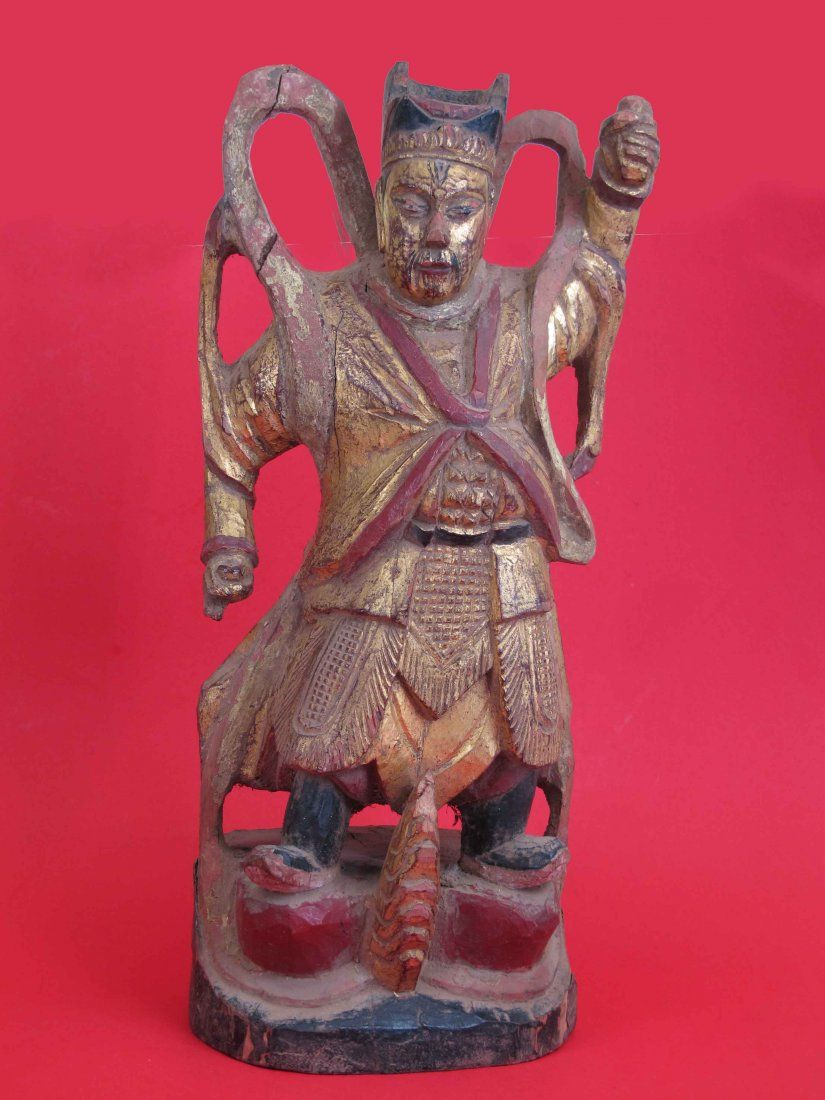 A Chinese Qing Dynasty Gold Wooden Figure Statue