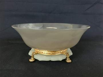 Fine Antique Chinese Agate Bowel & Jade Bottom Decorate