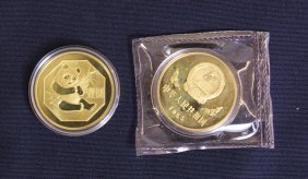 Two Chinese Of Public Gold-plated Panda Coin 1983