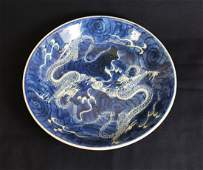 A Chinese Mid-Qing Dynasty White&Blue Dragon Pattern
