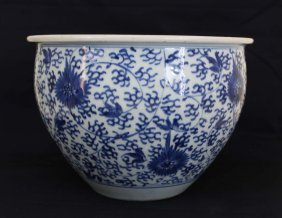 A Chinese Kangxi Period White&blue Fish Porcelain Pot