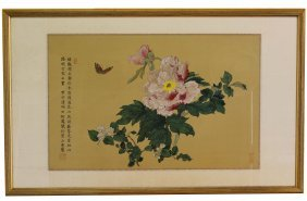 A Chinese Fower W Butterfly Painting By He Feng Yi