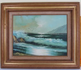 A Chinese Sea Oil Painting With Frame