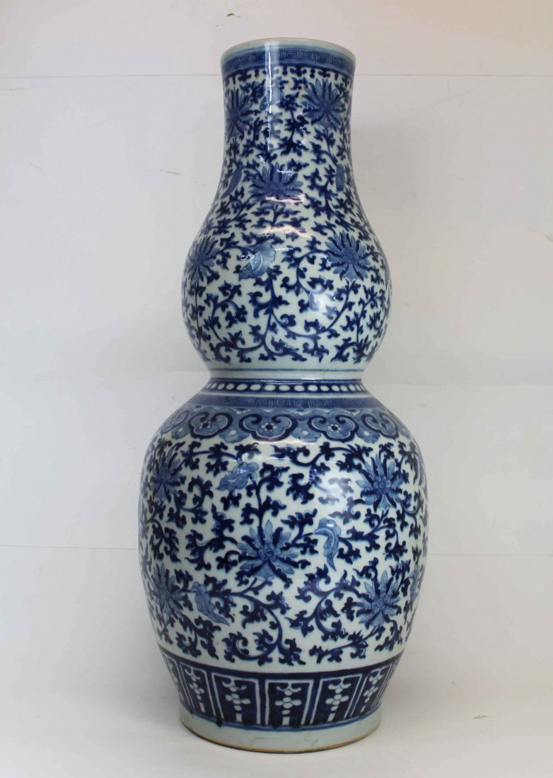 A Chinese Qing Dynasty Blue&White Gourd Porcelain Vase