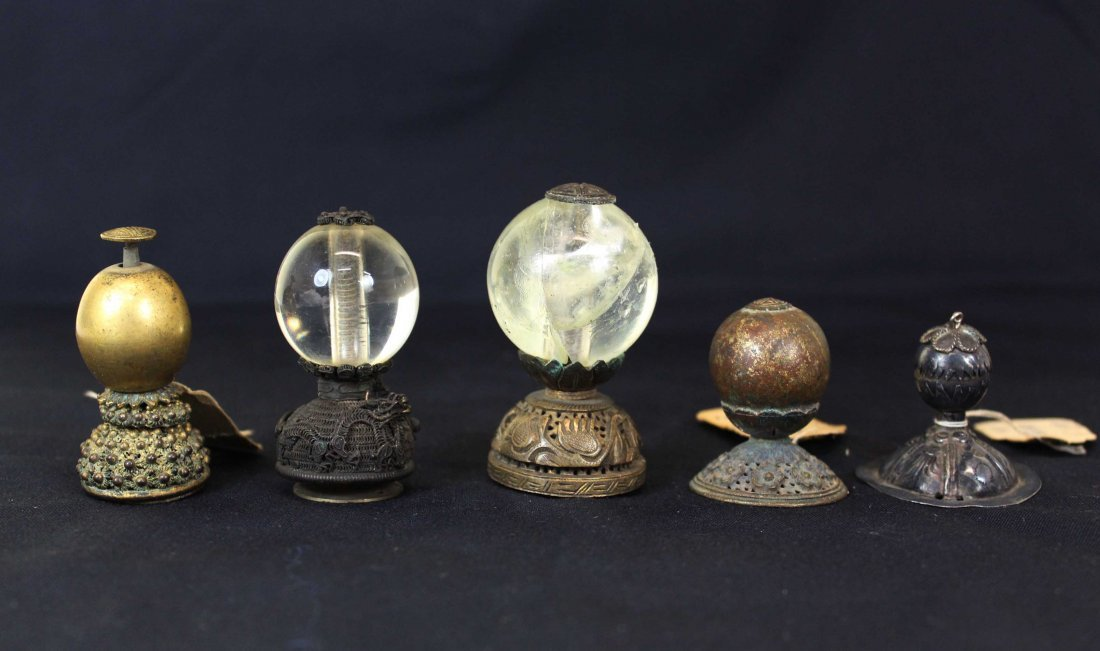 Five Chinese Qing Dynasty Scholars Hat Finials