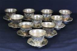 Ten Sets of Chinese Carved Flower Silver Cup And Plate