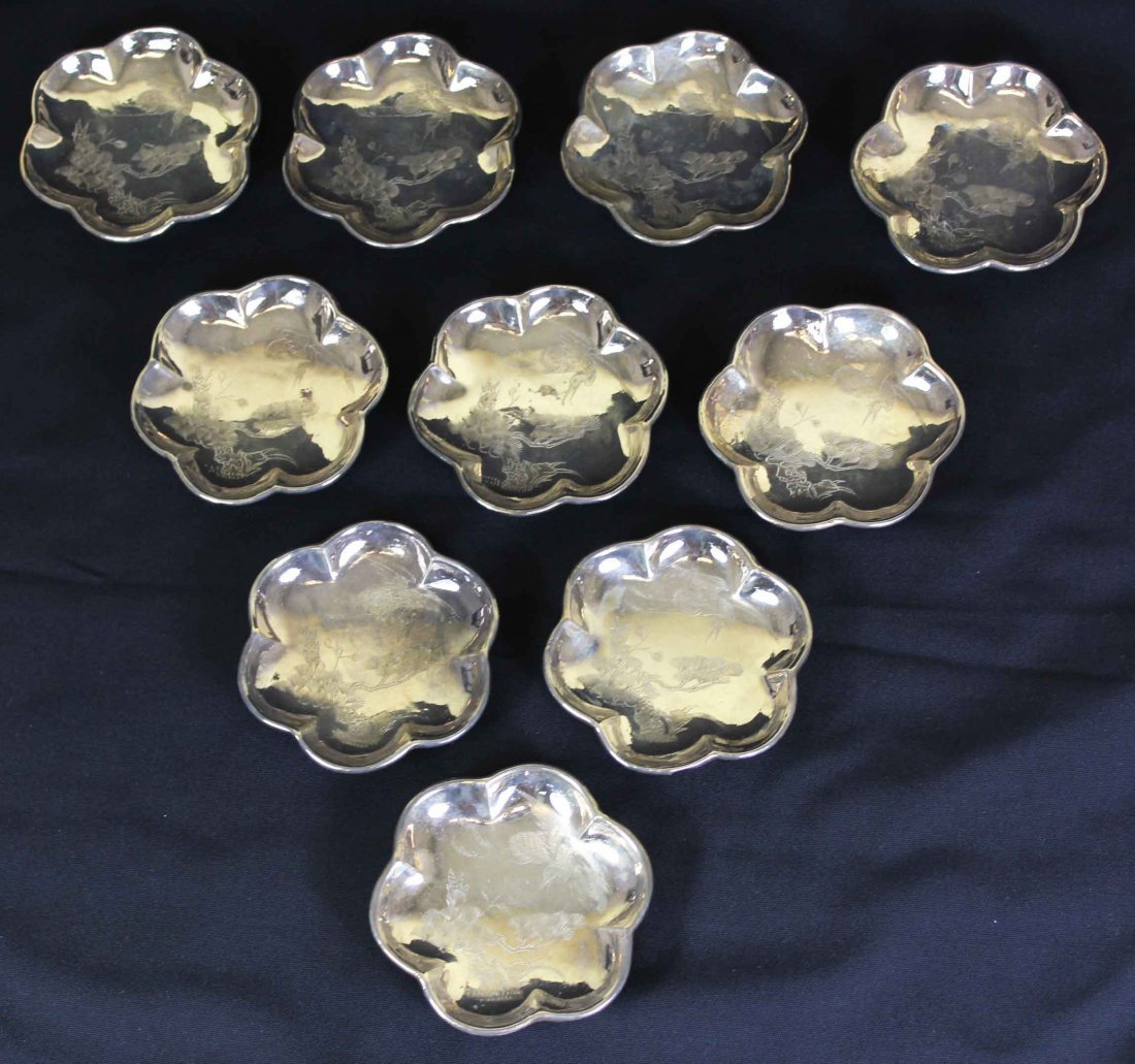 Ten Pieces Chinese Flower Carved Silver Plate