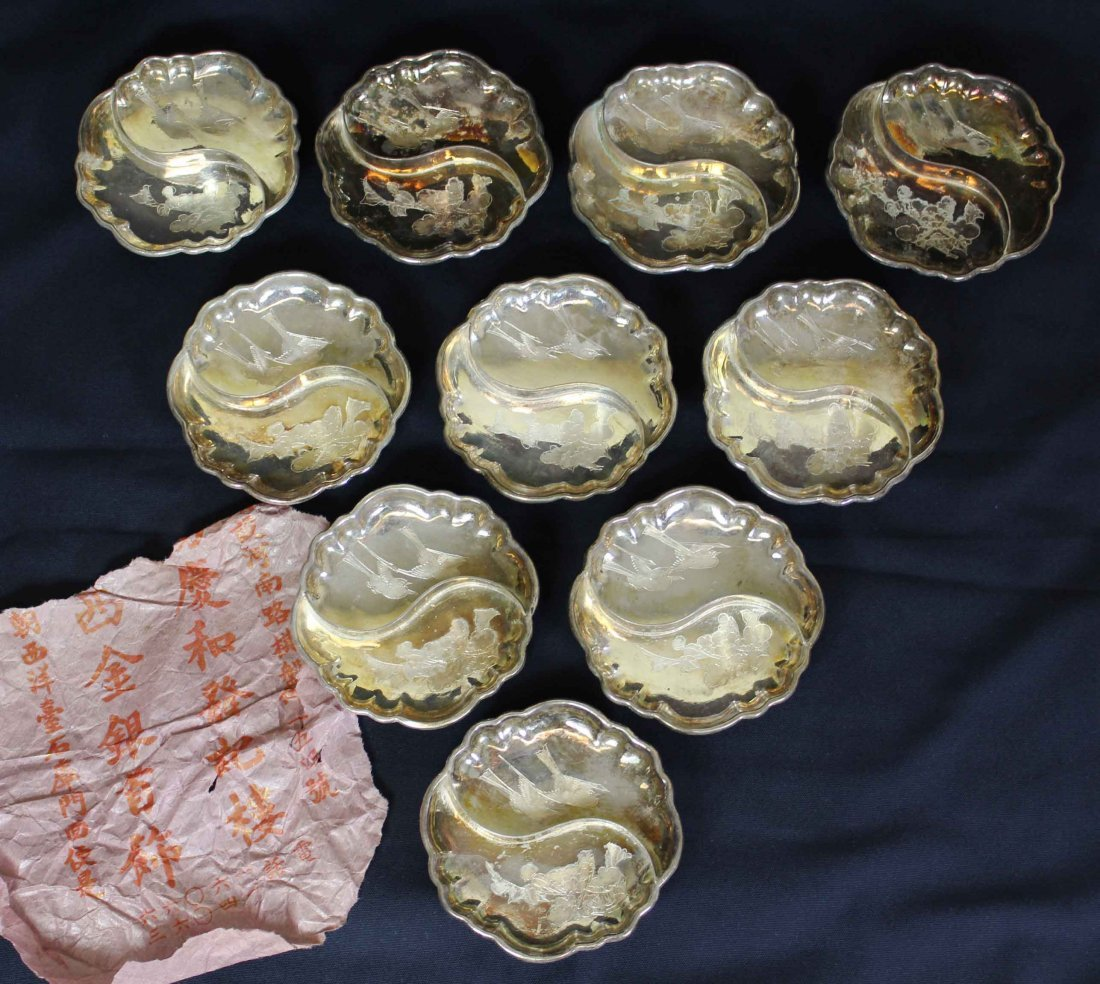 Ten Pieces Chinese Carved Silver Plate,Yang Qinghe