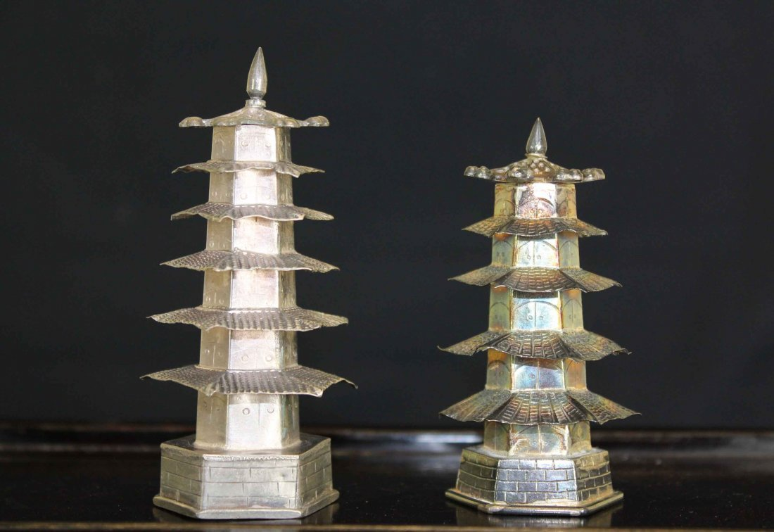 Two Chinese Silver Pagoda with Lisheng Mark