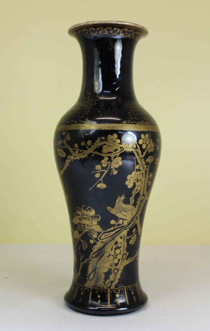 A Chinese Black Porcelain Gold Birds Vase Qing Dynasty