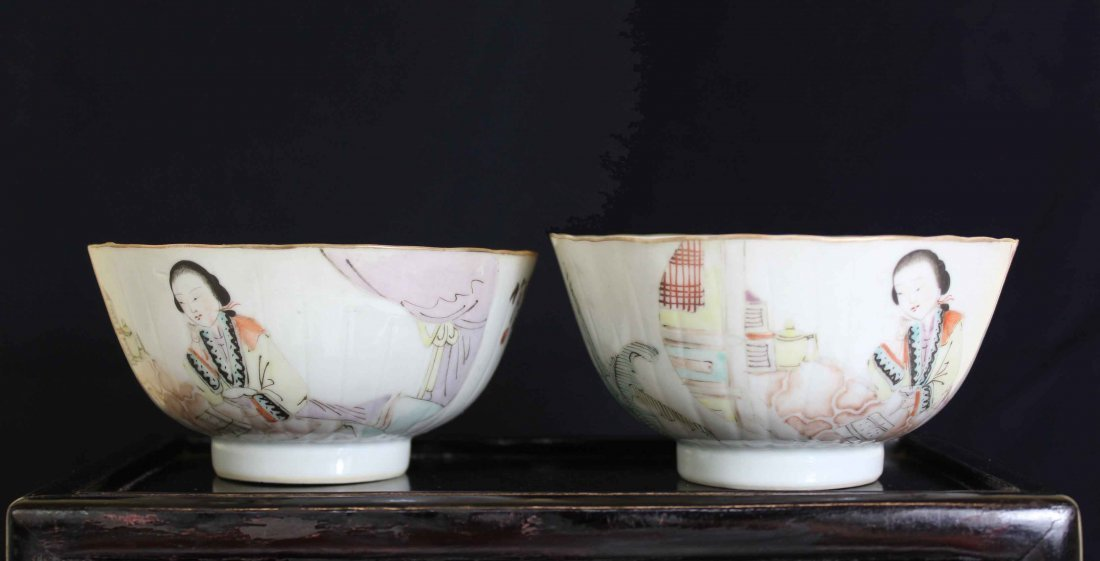 Two Chinese Ladies Porcelain Bowel Later Qing Dynasty