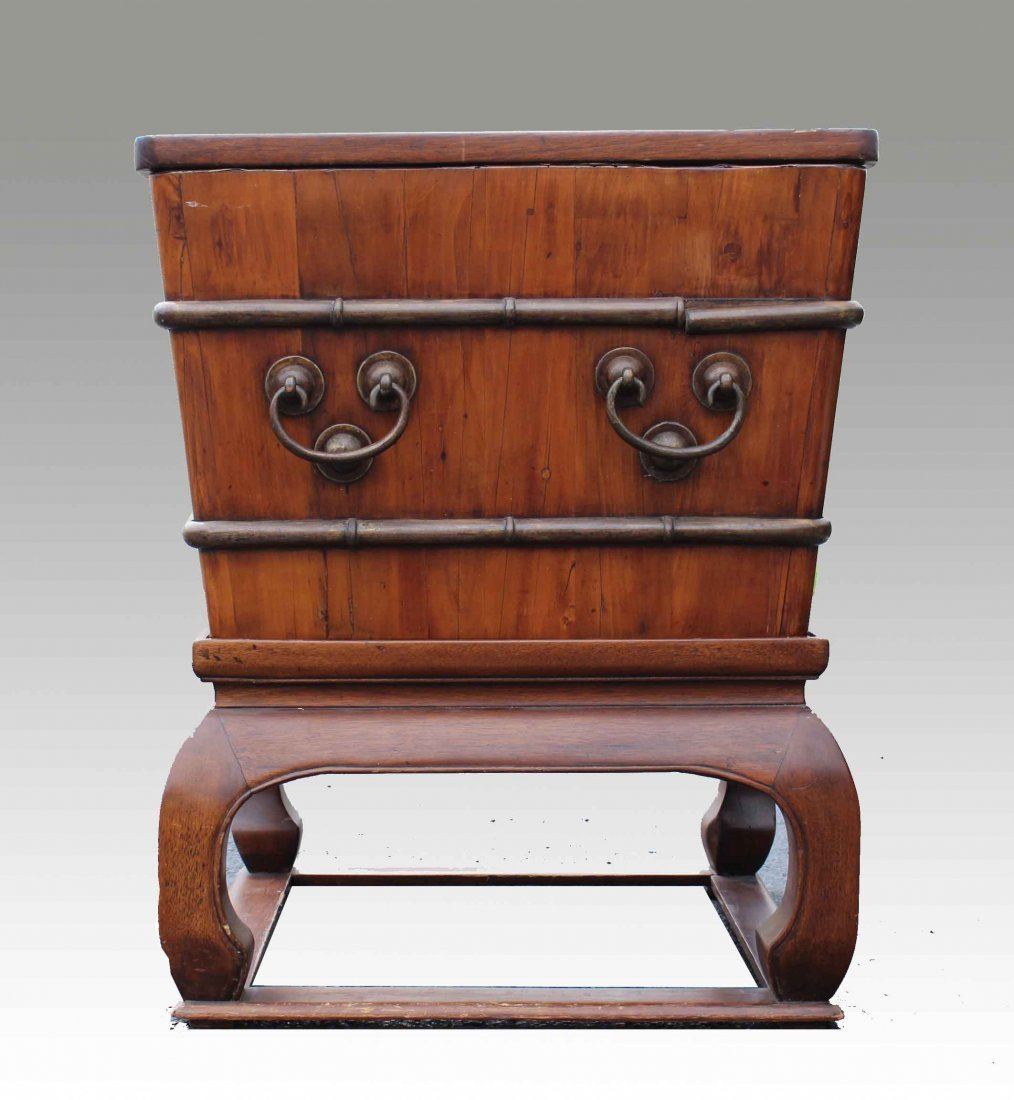 A Chinese Antique Hardwood Ice Chest w Brass Mountings