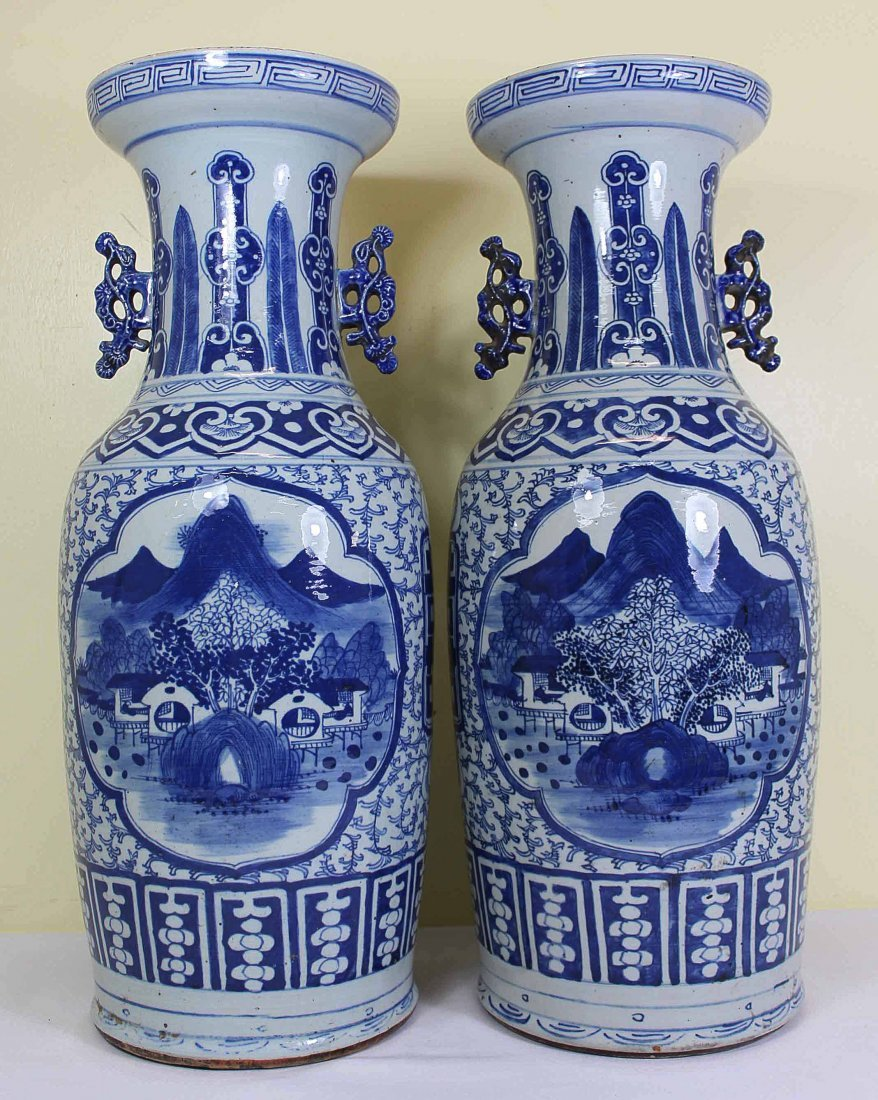 Pair of Chinese Porcelain Blue&White Vase Qing Dynasty