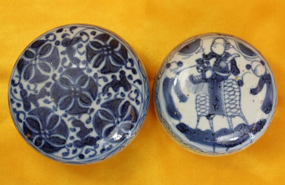 Two Chinese Blue & White Porcelain Inkpad Pot