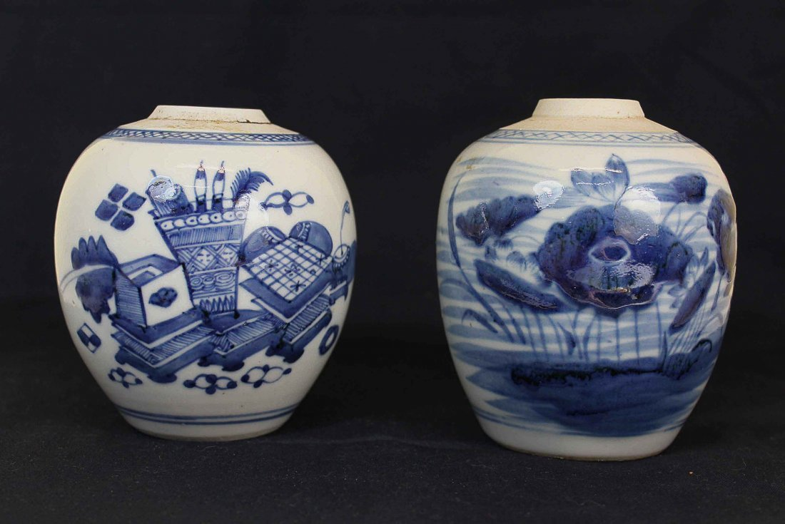 Two Chinese Antique Porcelain White&Blue Pots Qing
