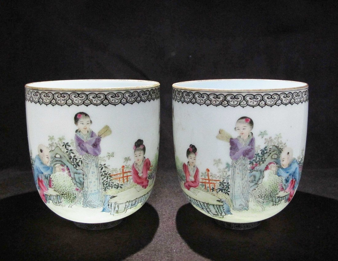 A Pair of  Chinese Antique Egg Shel Porcelain Cup