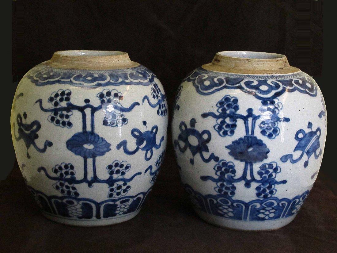 Two Chinese Antique Blue&White  Porcelain Vase