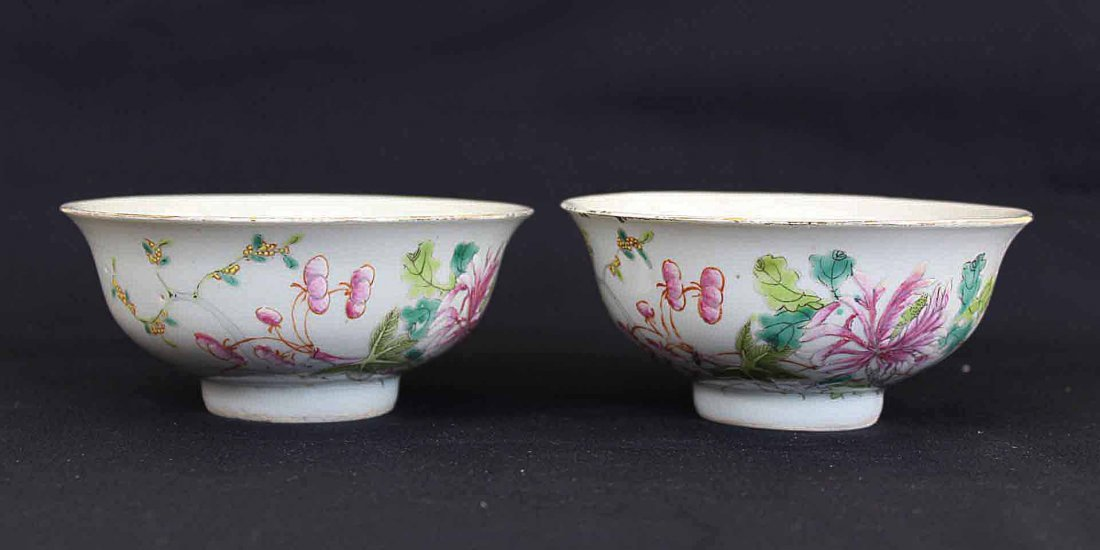Two Chinese Porcelain Bowl later Qing Shen De Tang Mark
