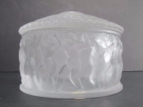 "Lalique Frosted Crystal ""Les Enfants"" Powder Box"