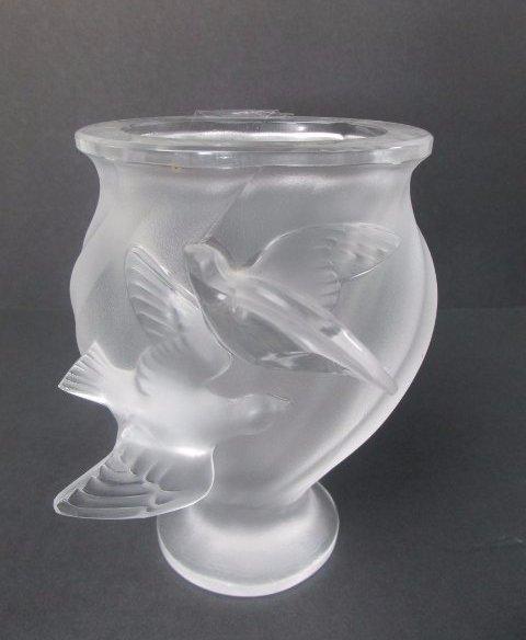 """Lalique Crystal """"Rosine"""" Vase"""