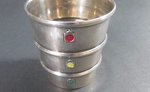 "Enameled Gorham Sterling ""Stoplight Jigger"""