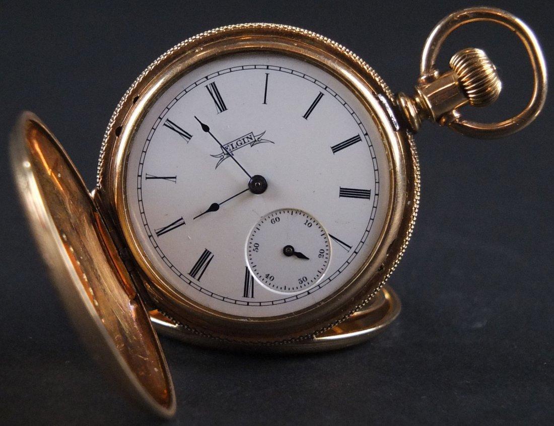 14K Gold Filled Elgin Full Hunters Pocket Watch. In