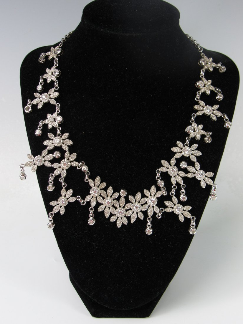 925 Sterling Silver CZ Drop Statement Necklace