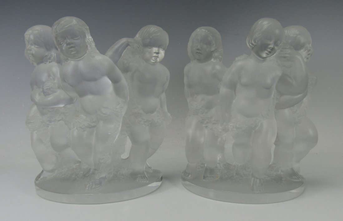 Lalique Luxembourg Frosted Crystal Cherub Bookends