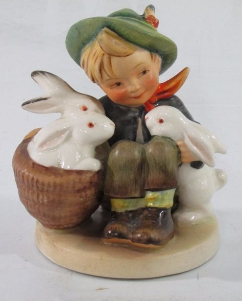 "Vintage Goebel Figurine ""Boy with Rabbits"" 4""in H"
