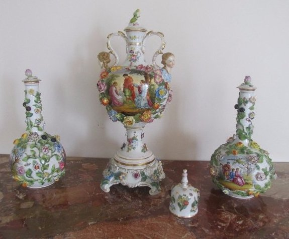 4 piece Meissen Fruit and Flower Encrusted Vase and Jar