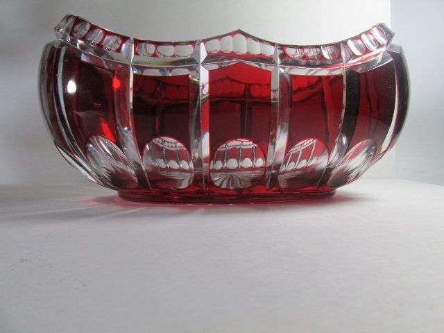 Ruby Red Cut to Clear Crystal Bowl